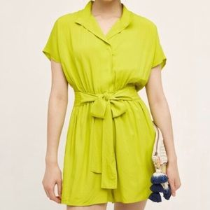 Anthropologie Maeve Tourista Romper in Chartreuse